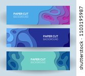 horizontal banners with 3d... | Shutterstock .eps vector #1103195987
