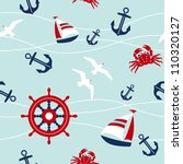 seamless pattern with nautical... | Shutterstock .eps vector #110320127