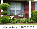 1980's brick ranch house in the ... | Shutterstock . vector #1103201897