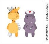 a hippopotamus nurse with a... | Shutterstock .eps vector #1103206523