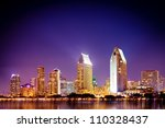 San Diego California skyline at night - stock photo