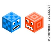 Pixel Cube Monsters - stock vector