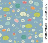 stylized water lilies pattern... | Shutterstock .eps vector #1103353877