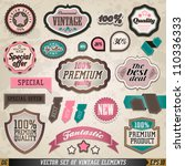 set of vector vintage badges... | Shutterstock .eps vector #110336333