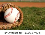 Baseball in a Glove with room for copy - stock photo