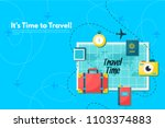 travel suitcase with different... | Shutterstock .eps vector #1103374883