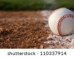 Baseball close up on the Infield Chalk Line - stock photo