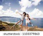 teenager girls having fun with... | Shutterstock . vector #1103379863