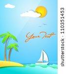 summer themed beach... | Shutterstock .eps vector #110351453