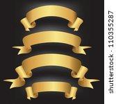 set of golden vector ribbons... | Shutterstock .eps vector #110355287