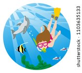 snorkeling woman and sea life   ...   Shutterstock .eps vector #1103635133
