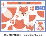 cut and glue the paper cartoon... | Shutterstock .eps vector #1103676773