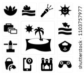 set of 13 icons such as beach...