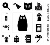 set of 13 icons such as owl ...