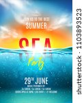 Summer Sea Party Poster. Vecto...