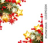 Border - Christmas background with red berry and gold stars - stock photo