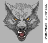 head of angry roaring wolf ... | Shutterstock .eps vector #1104041837