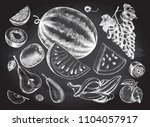 ink hand drawn set of fruits  ... | Shutterstock .eps vector #1104057917