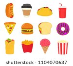 fast food snacks set. french... | Shutterstock . vector #1104070637