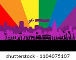 silhouette of people parade.... | Shutterstock .eps vector #1104075107
