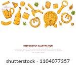 beer banner with sketch mug ... | Shutterstock .eps vector #1104077357