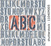 Vintage letterpress printing blocks alphabet. Grouped separately, vector, EPS8 - stock vector