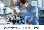 electronics engineer works with ... | Shutterstock . vector #1104131903