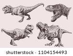 graphical set of dinosaurs ... | Shutterstock .eps vector #1104154493
