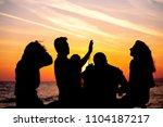 young adult summer beach party... | Shutterstock . vector #1104187217