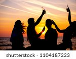 young adult summer beach party... | Shutterstock . vector #1104187223