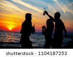 young adult summer beach party... | Shutterstock . vector #1104187253