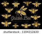 honey bee bumblebees wasps set... | Shutterstock .eps vector #1104212633