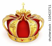 3d illustration of gold heraldic crown embeded with gems - stock photo