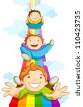 vector illustration of kids sliding on rainbow in sky - stock vector