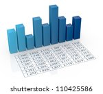top view of bar chart with spreadsheet (3d render) - stock photo