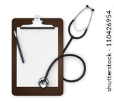 A doctor's clipboard with stethoscope, pen and paper on a white background - stock photo