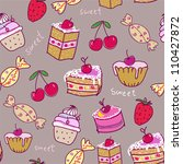 Seamless pattern with sweets.Seamless pattern can be used for wallpaper, pattern fills, web page background,surface textures. - stock vector