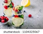 infused detox water with lemon...   Shutterstock . vector #1104325067