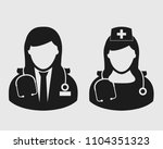 female doctor and nurse icon on ...   Shutterstock .eps vector #1104351323