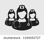 nurse team icon on gray...   Shutterstock .eps vector #1104352727