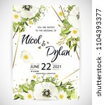 wedding floral template invite  ... | Shutterstock .eps vector #1104393377