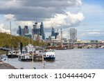 view of ships on thames river... | Shutterstock . vector #1104444047