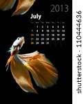 2013 Calendar A4 size, Siamese Fighting Fish concept - stock photo