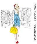 beautiful slender girl in... | Shutterstock .eps vector #1104487523