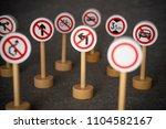 some forbidden traffic sign. | Shutterstock . vector #1104582167
