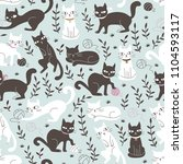 cute seamless pattern with cats ... | Shutterstock .eps vector #1104593117