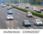 Small photo of PEKING CHINA-May 20, 2018: light fog and haze, high-speed vehicles running on the Guanganmen Expressway in Beijing. At present, China's vehicle ownership exceeds 300 million vehicles.