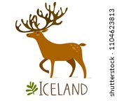 vector image of iceland deer.... | Shutterstock .eps vector #1104623813