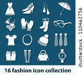 16 fashion icon collection - stock vector