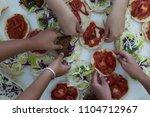 fast food on the table  | Shutterstock . vector #1104712967